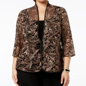 Alex Evenings Womens New  Brown Embroider Jacket T